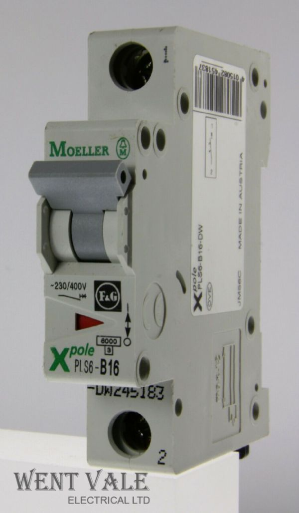 Moeller - X Pole PLS6-B16-DW - 16a Type B Single Pole MCB Used